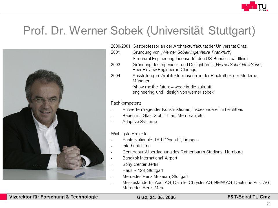 Professor Horst Cerjak, 19.12.2005 20 Vizerektor für Forschung & Technologie F&T-Beirat TU Graz Graz, 24. 05. 2006 2000/2001 Gastprofessor an der Arch