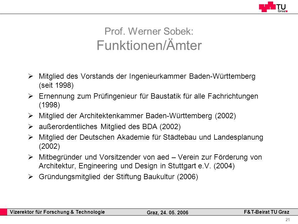 Professor Horst Cerjak, 19.12.2005 21 Vizerektor für Forschung & Technologie F&T-Beirat TU Graz Graz, 24. 05. 2006 Prof. Werner Sobek: Funktionen/Ämte