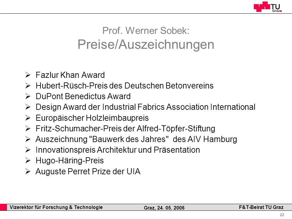 Professor Horst Cerjak, 19.12.2005 22 Vizerektor für Forschung & Technologie F&T-Beirat TU Graz Graz, 24. 05. 2006 Prof. Werner Sobek: Preise/Auszeich