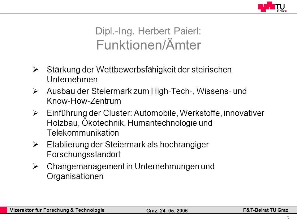 Professor Horst Cerjak, 19.12.2005 3 Vizerektor für Forschung & Technologie F&T-Beirat TU Graz Graz, 24. 05. 2006 Dipl.-Ing. Herbert Paierl: Funktione