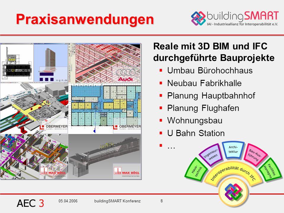 05.04.2006buildingSMART Konferenz8 Praxisanwendungen Reale mit 3D BIM und IFC durchgeführte Bauprojekte Umbau Bürohochhaus Neubau Fabrikhalle Planung