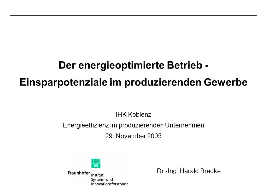 Der energieoptimierte Betrieb - Einsparpotenziale im produzierenden Gewerbe IHK Koblenz Energieeffizienz im produzierenden Unternehmen 29. November 20