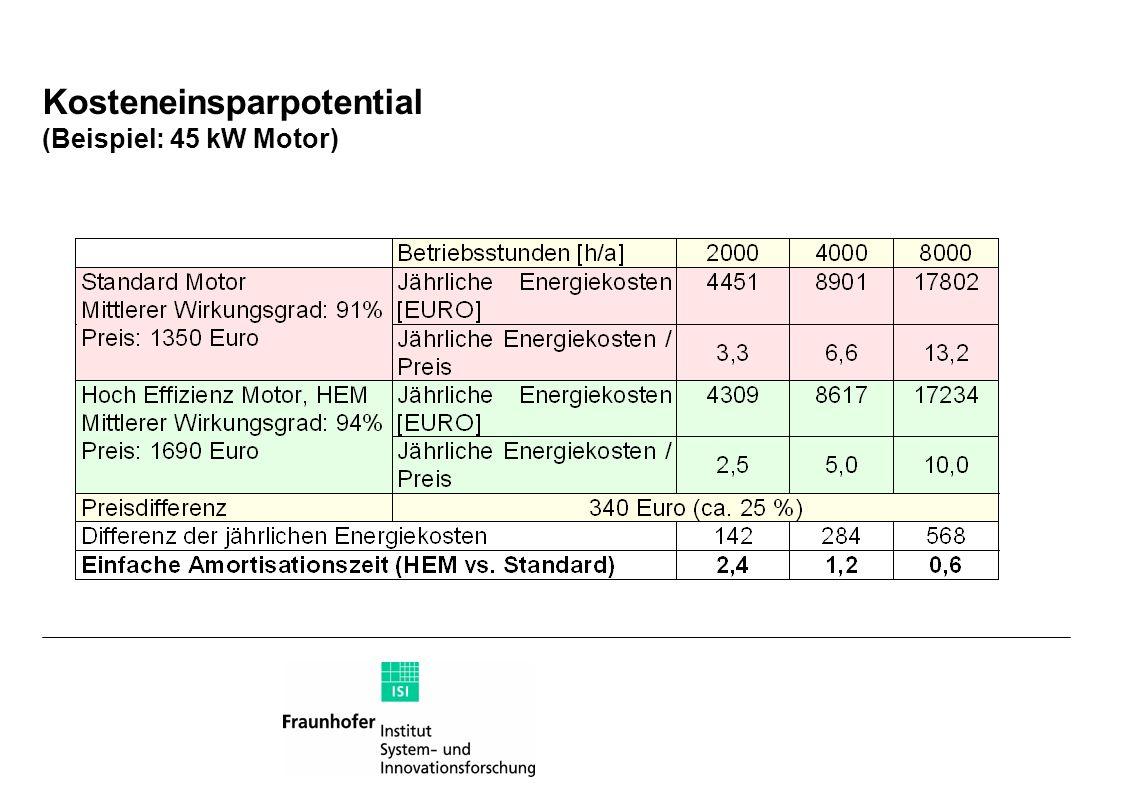 Kosteneinsparpotential (Beispiel: 45 kW Motor)