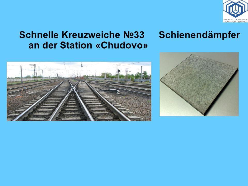 Schnelle Kreuzweiche 33 an der Station «Chudovo» Schienendämpfer