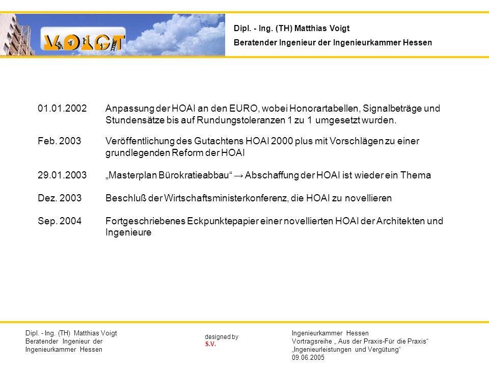 designed by S.V. 01.01.2002Anpassung der HOAI an den EURO, wobei Honorartabellen, Signalbeträge und Stundensätze bis auf Rundungstoleranzen 1 zu 1 umg