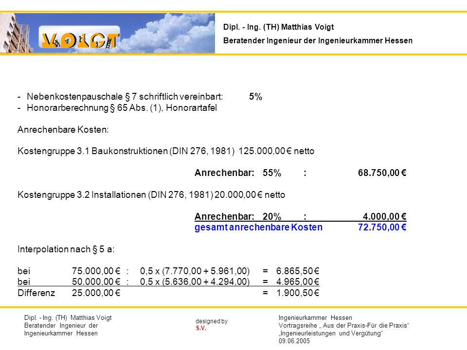 designed by S.V. -Nebenkostenpauschale § 7 schriftlich vereinbart:5% -Honorarberechnung § 65 Abs. (1), Honorartafel Anrechenbare Kosten: Kostengruppe