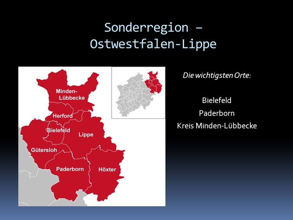 Die wichtigsten Orte: Bielefeld Paderborn Kreis Minden-Lübbecke Sonderregion – Ostwestfalen-Lippe