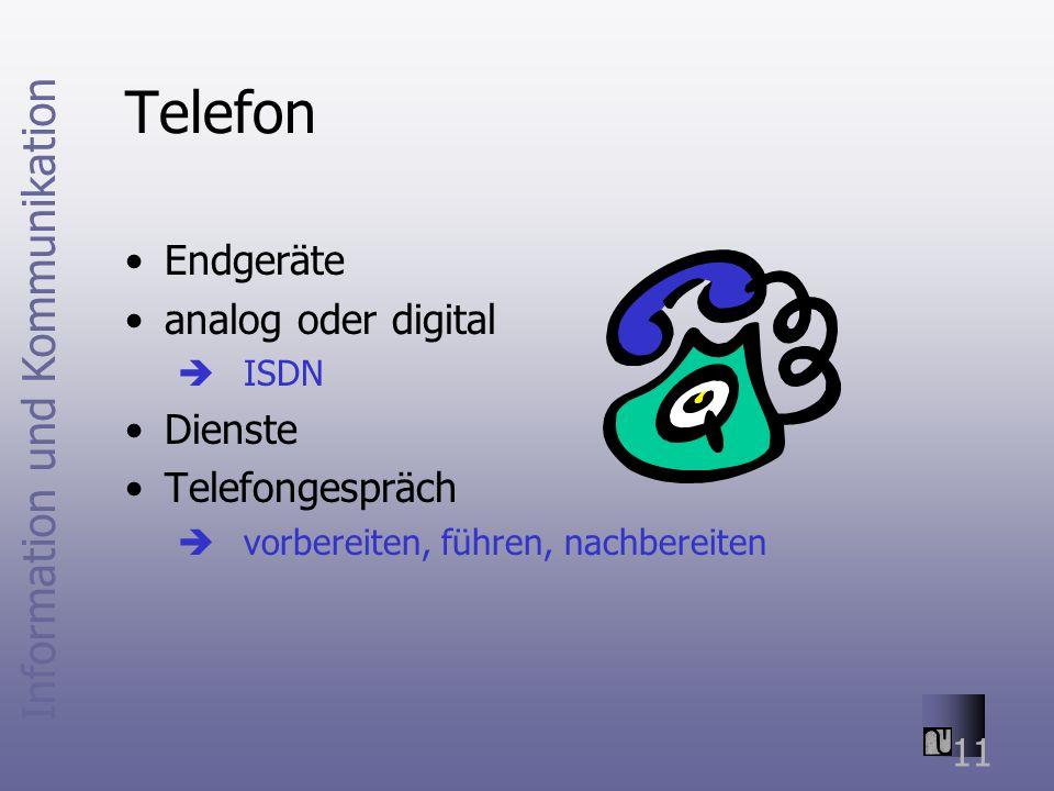 Information und Kommunikation 11 Telefon Endgeräte analog oder digital ISDN Dienste Telefongespräch vorbereiten, führen, nachbereiten