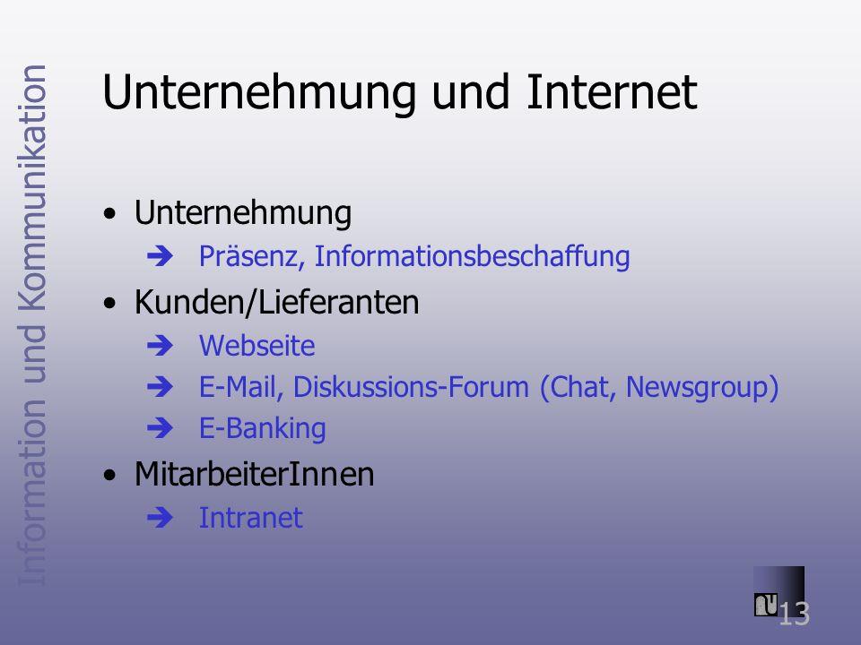 Information und Kommunikation 13 Unternehmung und Internet Unternehmung Präsenz, Informationsbeschaffung Kunden/Lieferanten Webseite E-Mail, Diskussions-Forum (Chat, Newsgroup) E-Banking MitarbeiterInnen Intranet