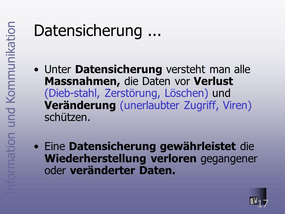Information und Kommunikation 17 Datensicherung...