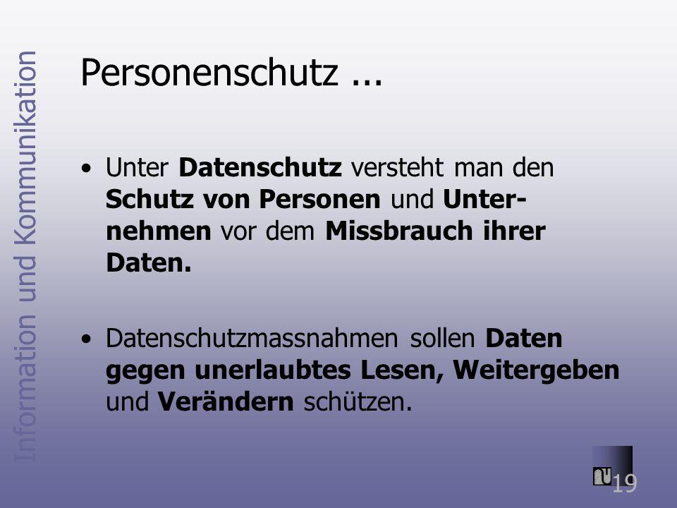 Information und Kommunikation 19 Personenschutz...