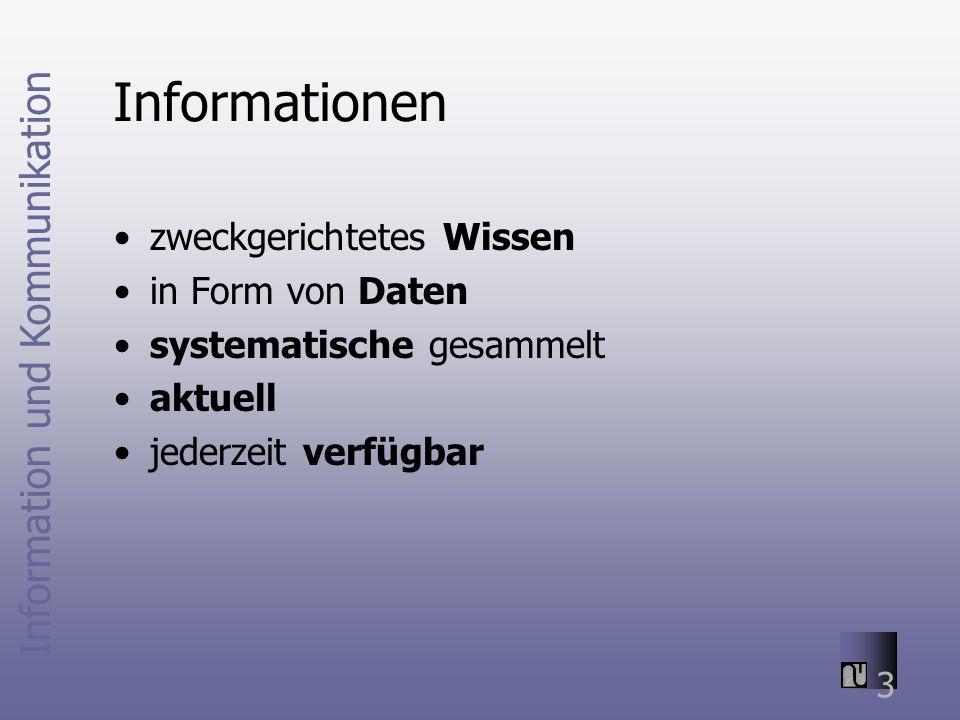 Information und Kommunikation 3 Informationen zweckgerichtetes Wissen in Form von Daten systematische gesammelt aktuell jederzeit verfügbar