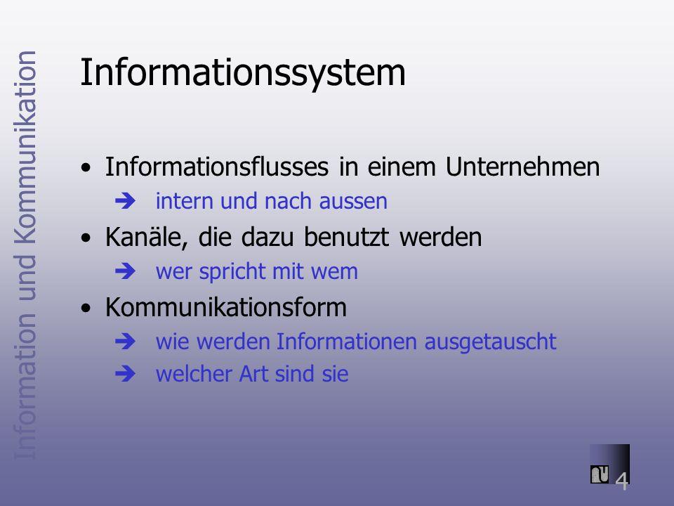 Information und Kommunikation 4 Informationssystem Informationsflusses in einem Unternehmen intern und nach aussen Kanäle, die dazu benutzt werden wer spricht mit wem Kommunikationsform wie werden Informationen ausgetauscht welcher Art sind sie