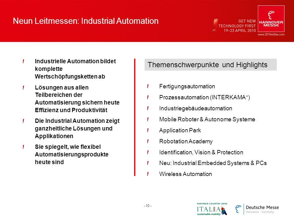 Neun Leitmessen: Industrial Automation Industrielle Automation bildet komplette Wertschöpfungsketten ab Lösungen aus allen Teilbereichen der Automatis