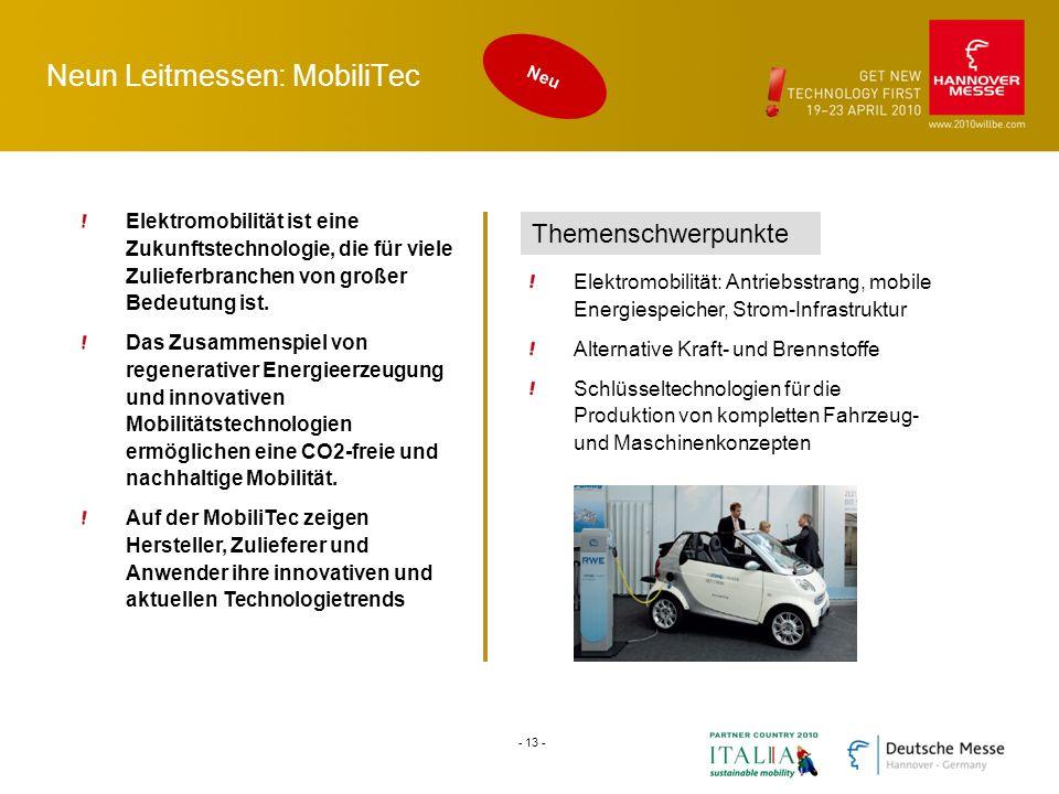 Neun Leitmessen: MobiliTec Elektromobilität ist eine Zukunftstechnologie, die für viele Zulieferbranchen von großer Bedeutung ist. Das Zusammenspiel v