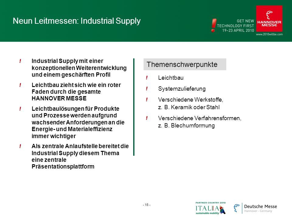 Neun Leitmessen: Industrial Supply Industrial Supply mit einer konzeptionellen Weiterentwicklung und einem geschärften Profil Leichtbau zieht sich wie
