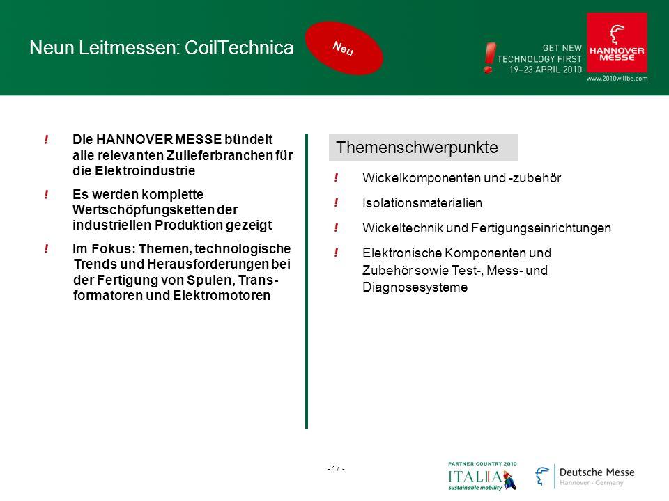 Neun Leitmessen: CoilTechnica Die HANNOVER MESSE bündelt alle relevanten Zulieferbranchen für die Elektroindustrie Es werden komplette Wertschöpfungsk