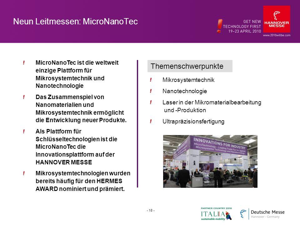 Neun Leitmessen: MicroNanoTec MicroNanoTec ist die weltweit einzige Plattform für Mikrosystemtechnik und Nanotechnologie Das Zusammenspiel von Nanomaterialien und Mikrosystemtechnik ermöglicht die Entwicklung neuer Produkte.