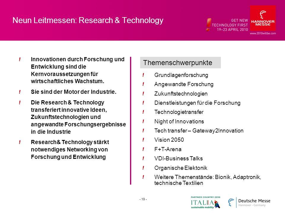 Neun Leitmessen: Research & Technology Innovationen durch Forschung und Entwicklung sind die Kernvoraussetzungen für wirtschaftliches Wachstum. Sie si