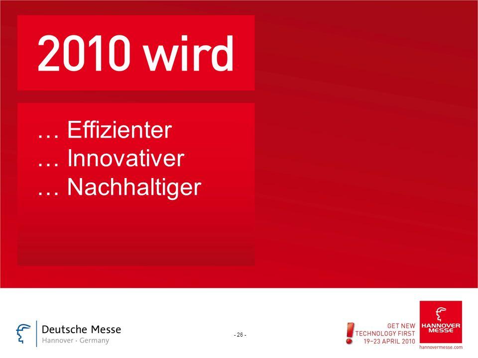 Start … Effizienter … Innovativer … Nachhaltiger - 26 -