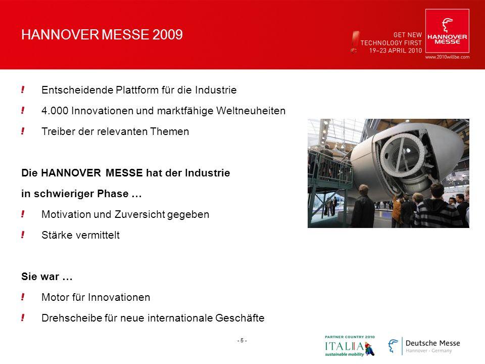 HANNOVER MESSE 2009 Entscheidende Plattform für die Industrie 4.000 Innovationen und marktfähige Weltneuheiten Treiber der relevanten Themen Die HANNO