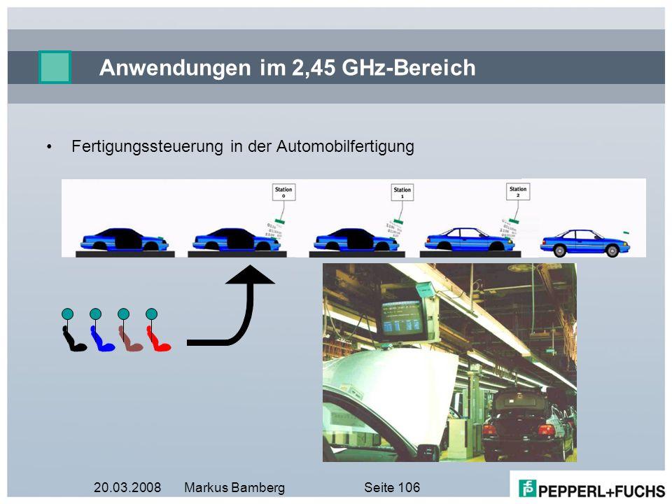 20.03.2008Markus BambergSeite 106 Anwendungen im 2,45 GHz-Bereich Fertigungssteuerung in der Automobilfertigung