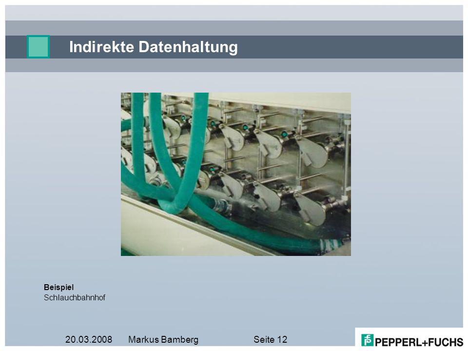 20.03.2008Markus BambergSeite 12 Indirekte Datenhaltung Beispiel Schlauchbahnhof