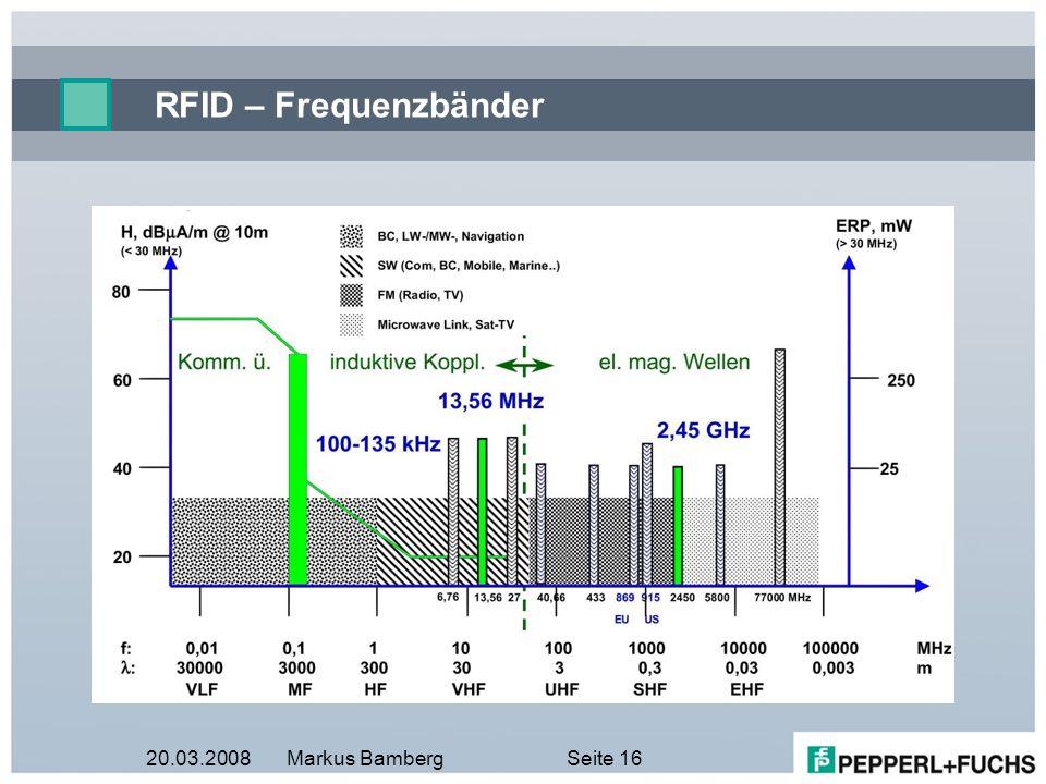 20.03.2008Markus BambergSeite 16 RFID – Frequenzbänder