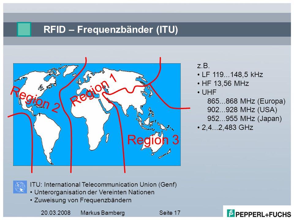20.03.2008Markus BambergSeite 17 RFID – Frequenzbänder (ITU) z.B. LF 119...148,5 kHz HF 13,56 MHz UHF 865...868 MHz (Europa) 902...928 MHz (USA) 952..
