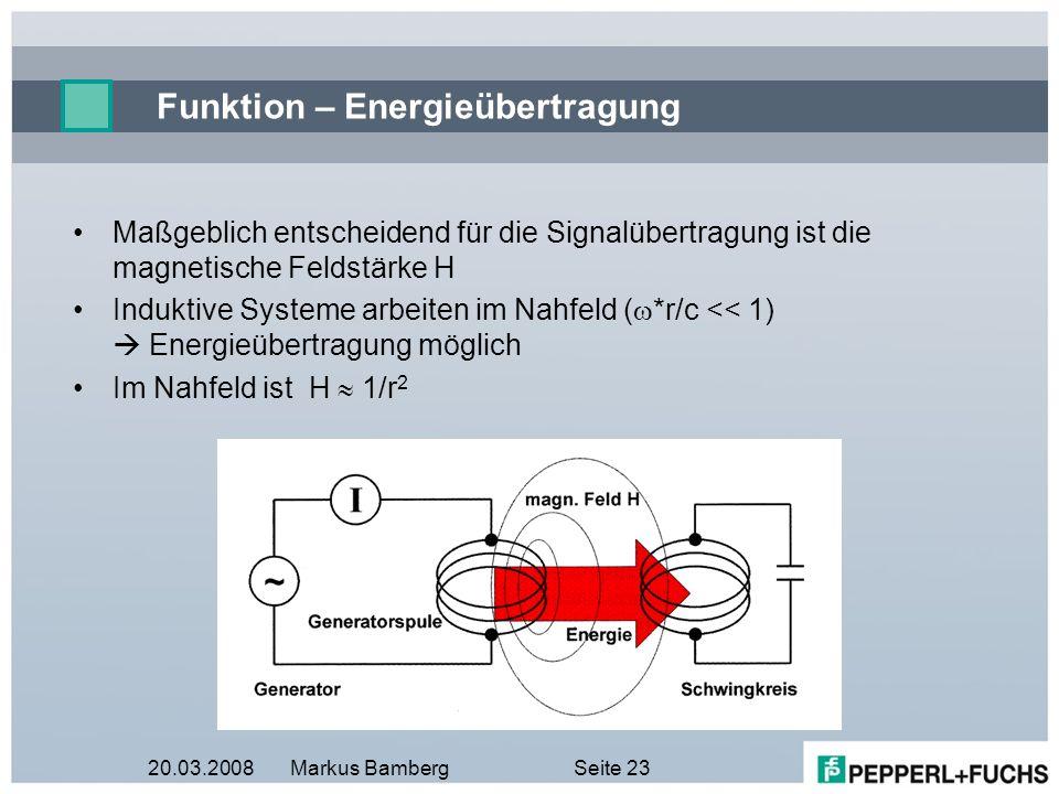 20.03.2008Markus BambergSeite 23 Funktion – Energieübertragung Maßgeblich entscheidend für die Signalübertragung ist die magnetische Feldstärke H Indu