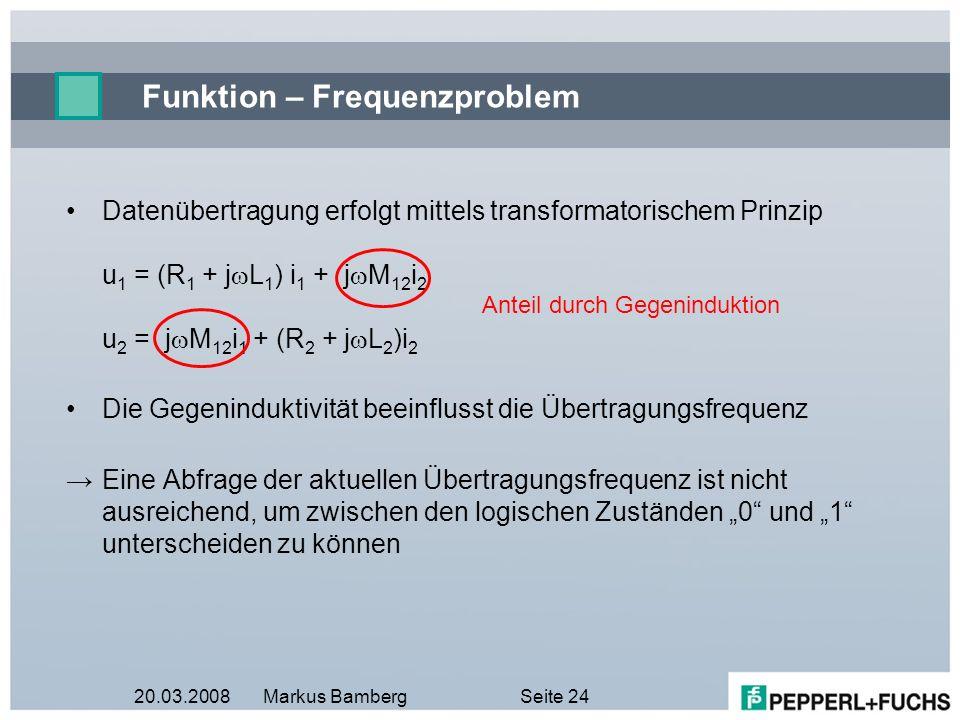 20.03.2008Markus BambergSeite 24 Funktion – Frequenzproblem Datenübertragung erfolgt mittels transformatorischem Prinzip u 1 = (R 1 + j L 1 ) i 1 + j