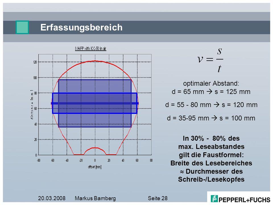 20.03.2008Markus BambergSeite 28 Erfassungsbereich optimaler Abstand: d = 65 mm s = 125 mm d = 35-95 mm s = 100 mm d = 55 - 80 mm s = 120 mm In 30% -