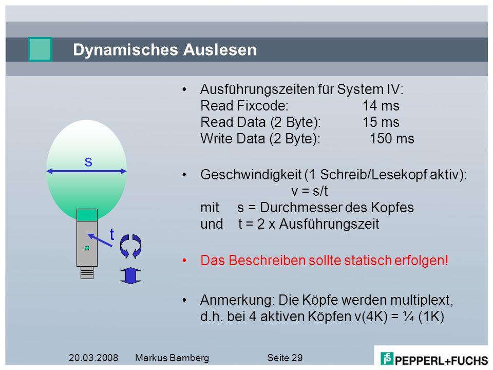 20.03.2008Markus BambergSeite 29 Dynamisches Auslesen Ausführungszeiten für System IV: Read Fixcode:14 ms Read Data (2 Byte):15 ms Write Data (2 Byte)