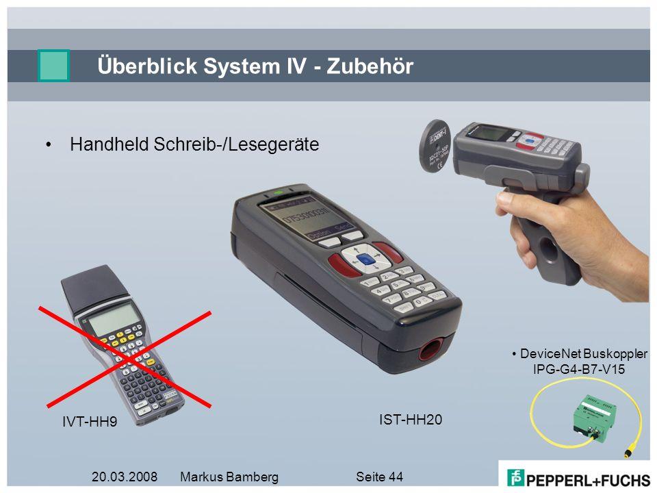 20.03.2008Markus BambergSeite 44 Überblick System IV - Zubehör Handheld Schreib-/Lesegeräte IVT-HH9 IST-HH20 DeviceNet Buskoppler IPG-G4-B7-V15