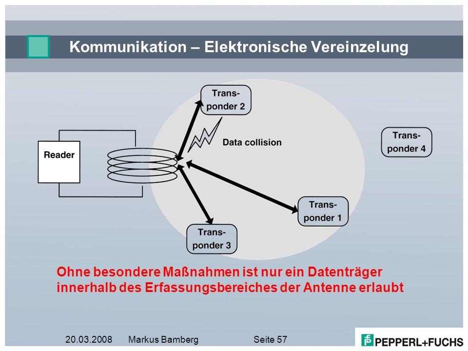 20.03.2008Markus BambergSeite 57 Kommunikation – Elektronische Vereinzelung Ohne besondere Maßnahmen ist nur ein Datenträger innerhalb des Erfassungsb