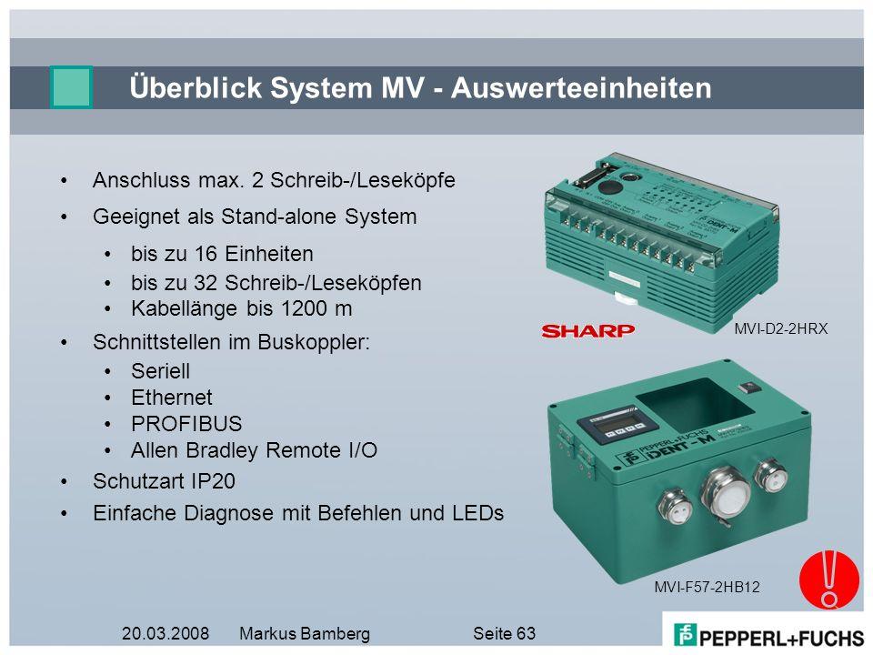 20.03.2008Markus BambergSeite 63 Überblick System MV - Auswerteeinheiten MVI-D2-2HRX MVI-F57-2HB12 Anschluss max. 2 Schreib-/Leseköpfe Geeignet als St