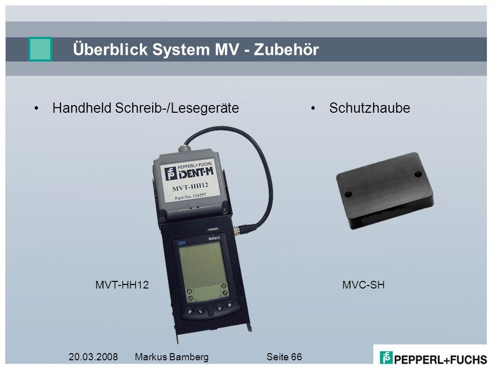 20.03.2008Markus BambergSeite 66 Überblick System MV - Zubehör Handheld Schreib-/Lesegeräte MVT-HH12 Schutzhaube MVC-SH