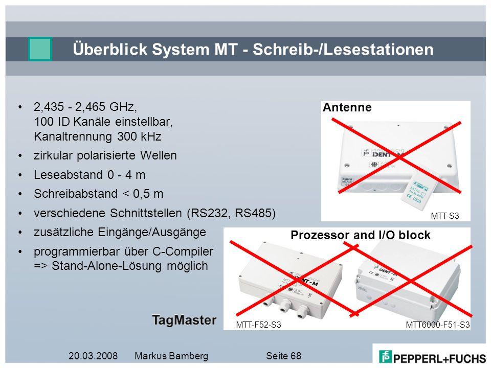 20.03.2008Markus BambergSeite 68 Überblick System MT - Schreib-/Lesestationen MTT-S3 Antenne MTT-F52-S3 2,435 - 2,465 GHz, 100 ID Kanäle einstellbar,