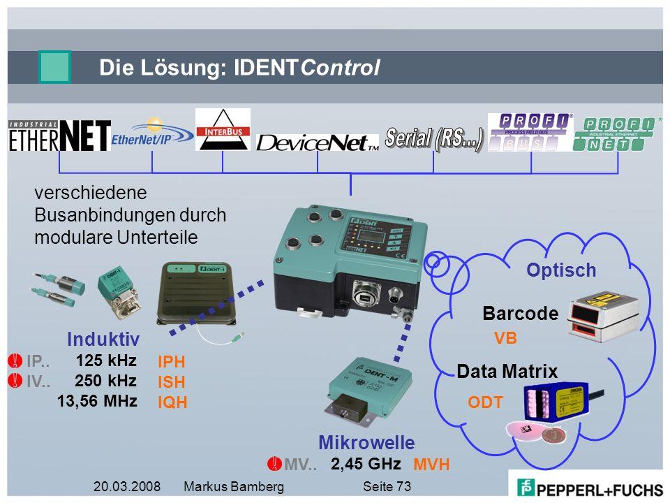 20.03.2008Markus BambergSeite 73 Die Lösung: IDENTControl Data Matrix ODT Optisch Barcode VB verschiedene Busanbindungen durch modulare Unterteile Ind