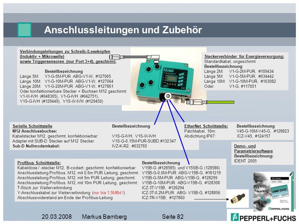 20.03.2008Markus BambergSeite 82 Verbindungsleitungen zu Schreib-/Leseköpfen (Induktiv + Mikrowelle) sowie Triggersensoren (nur Port 3+4), geschirmt: