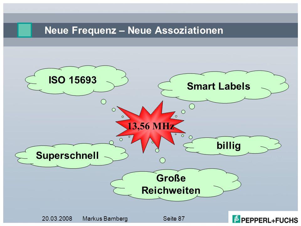 20.03.2008Markus BambergSeite 87 Neue Frequenz – Neue Assoziationen Superschnell Smart Labels ISO 15693 billig Große Reichweiten 13,56 MHz