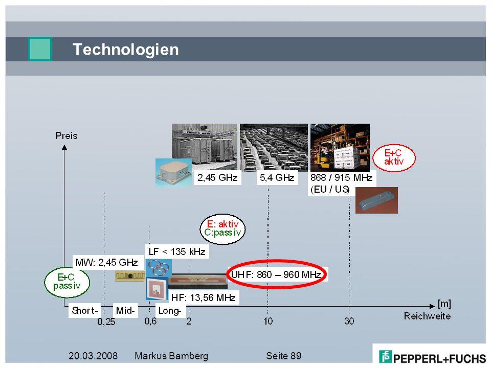20.03.2008Markus BambergSeite 89 Technologien