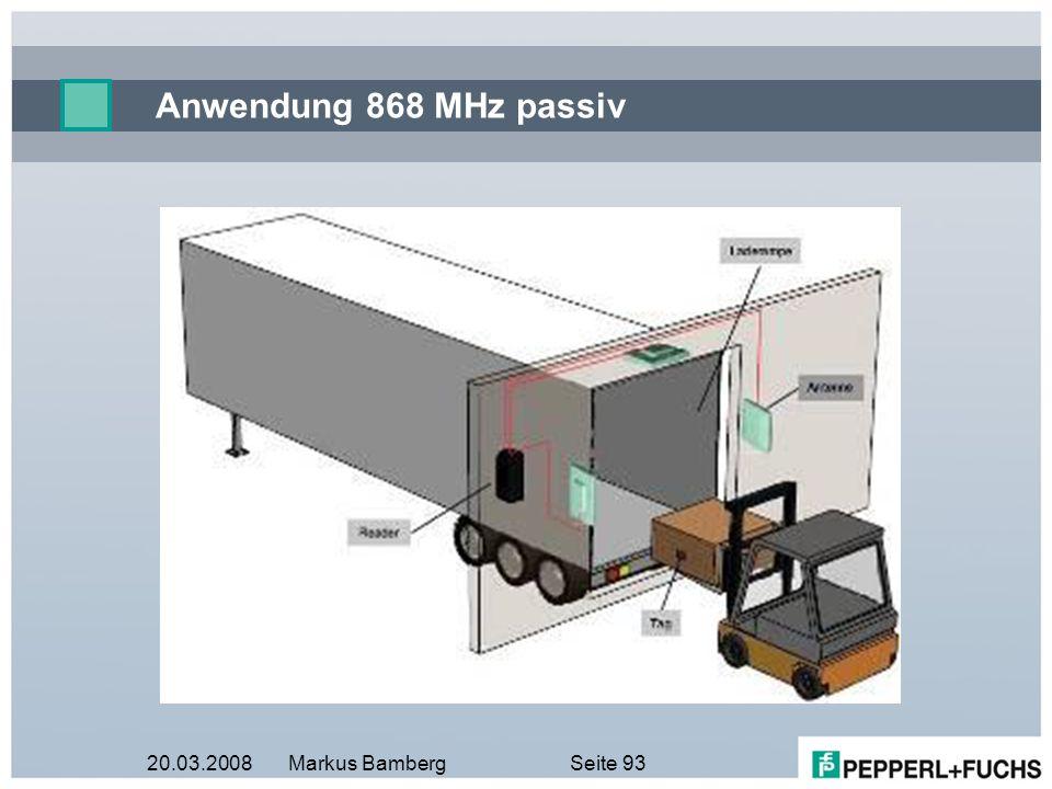 20.03.2008Markus BambergSeite 93 Anwendung 868 MHz passiv