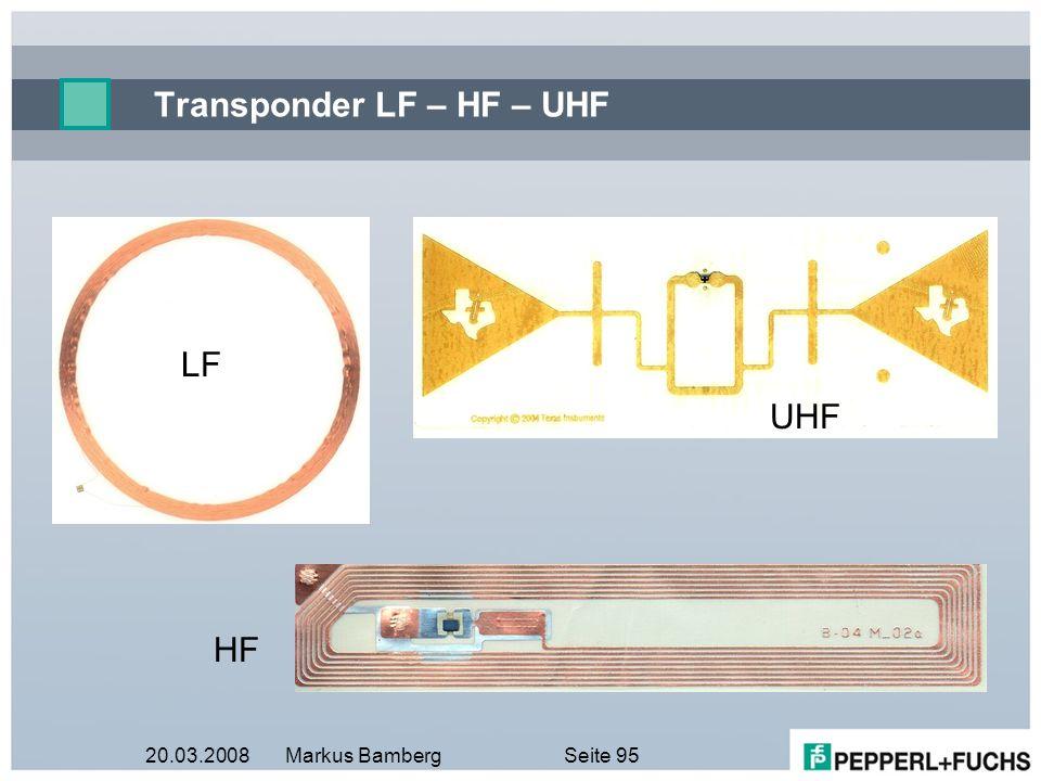 20.03.2008Markus BambergSeite 95 Transponder LF – HF – UHF LF UHF HF