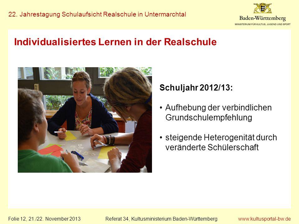 www.kultusportal-bw.de Referat 34, Kultusministerium Baden-Württemberg 22. Jahrestagung Schulaufsicht Realschule in Untermarchtal Folie 12, 21./22. No