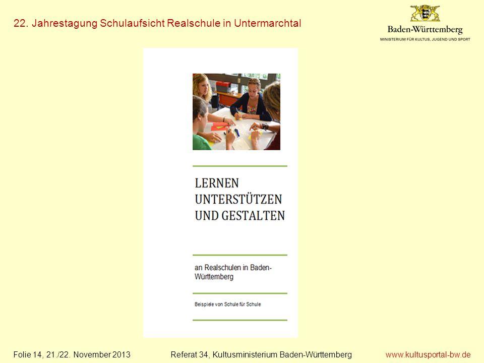 www.kultusportal-bw.de Referat 34, Kultusministerium Baden-Württemberg 22. Jahrestagung Schulaufsicht Realschule in Untermarchtal Folie 14, 21./22. No