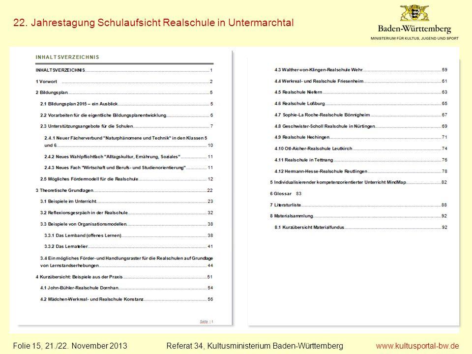 www.kultusportal-bw.de Referat 34, Kultusministerium Baden-Württemberg 22. Jahrestagung Schulaufsicht Realschule in Untermarchtal Folie 15, 21./22. No