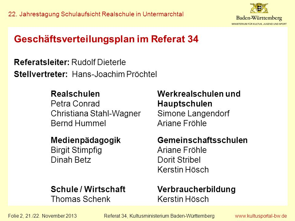 www.kultusportal-bw.de Referat 34, Kultusministerium Baden-Württemberg 22. Jahrestagung Schulaufsicht Realschule in Untermarchtal Folie 2, 21./22. Nov