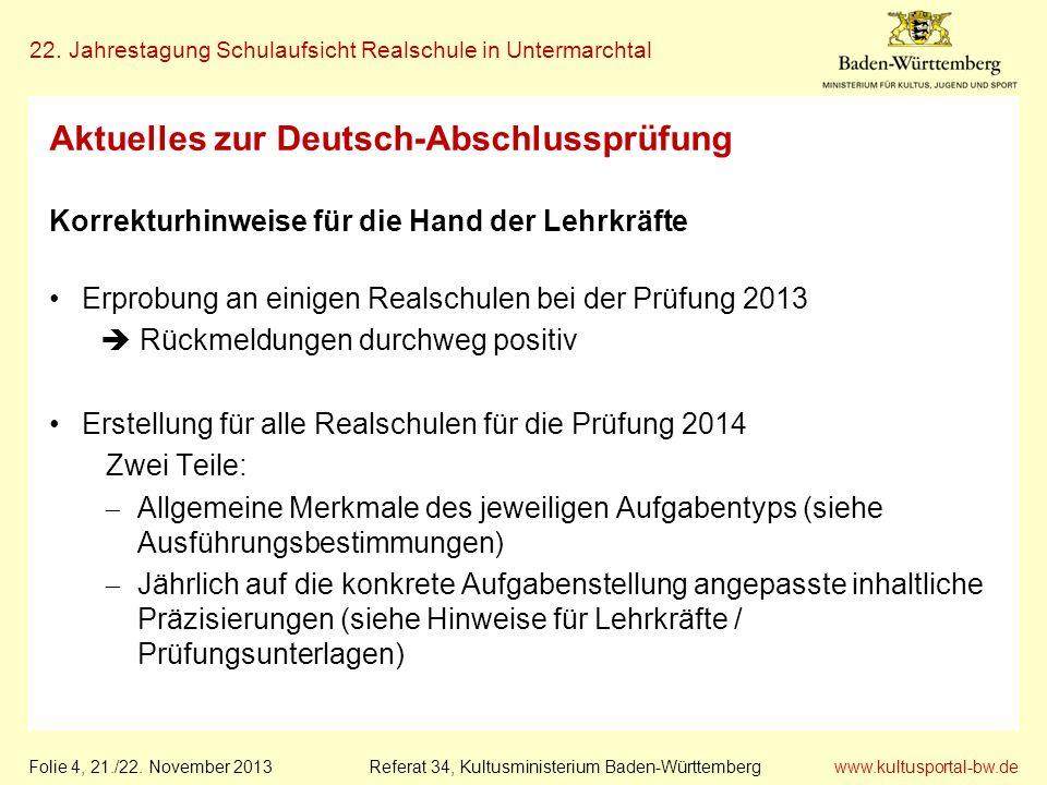 www.kultusportal-bw.de Referat 34, Kultusministerium Baden-Württemberg 22. Jahrestagung Schulaufsicht Realschule in Untermarchtal Folie 4, 21./22. Nov