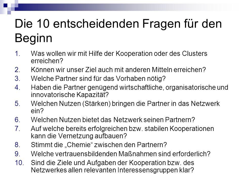 Die 10 entscheidenden Fragen für den Beginn 1.Was wollen wir mit Hilfe der Kooperation oder des Clusters erreichen? 2.Können wir unser Ziel auch mit a